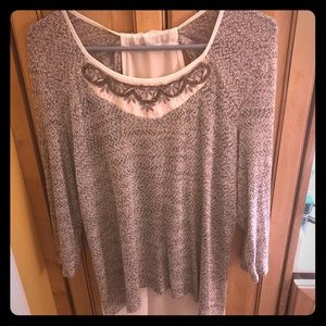 Maurices Gray and White Blouse with embellishment